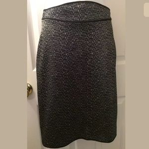 ZAC POSEN Pencil Skirt Geo Print Black Gray Piping